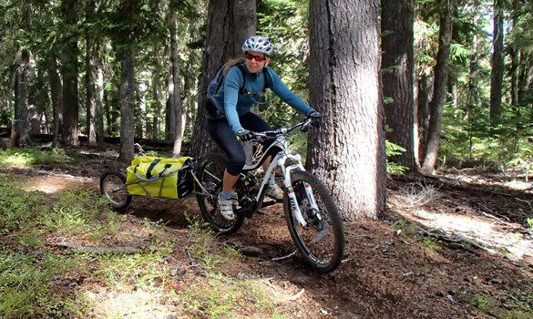 bike touring on singletrack with BOB Trailer